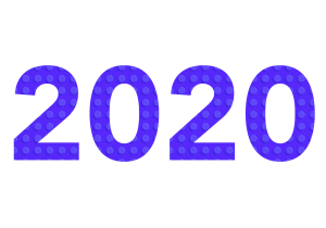 year 2020 in block letters