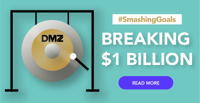breaking $1 billion with an image of a gong